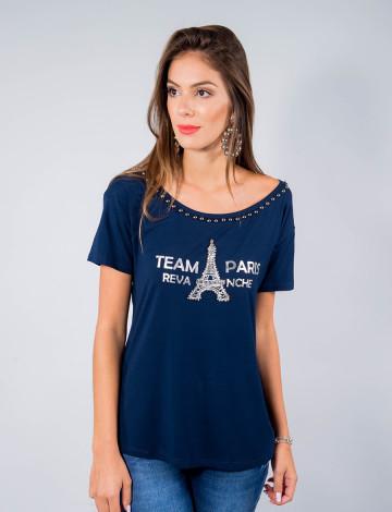 Camiseta Atacado Manga Curta Feminino Revanche Team Paris Azul Marinho Frente