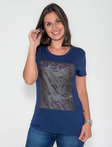 Camiseta Atacado manga Curta Feminino Revanche Tiger Azul Marinho