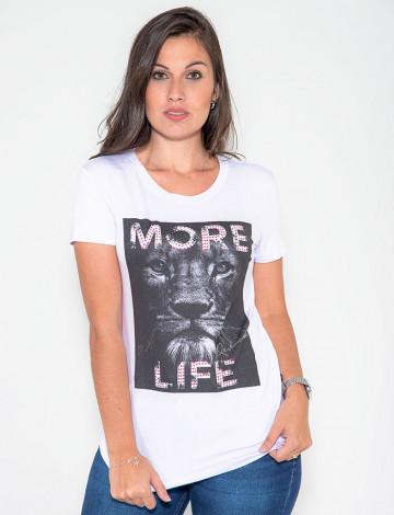 Camiseta Atacado manga Curta Feminino Revanche Tiger Branco