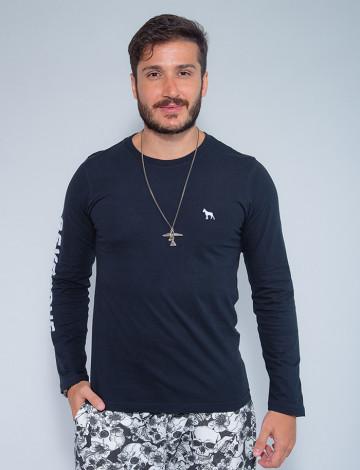 Camiseta Atacado Manga Longa Masculina Revanche Nicarágua Preto Frente