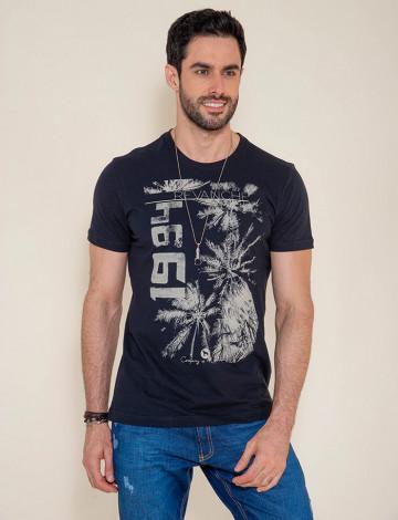 Camiseta Atacado Masculina Revanche Coqueiro 1984 Preta Frente