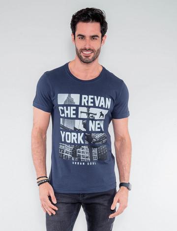 Camiseta Atacado Masculina Revanche Gabão Azul Marinho Frente