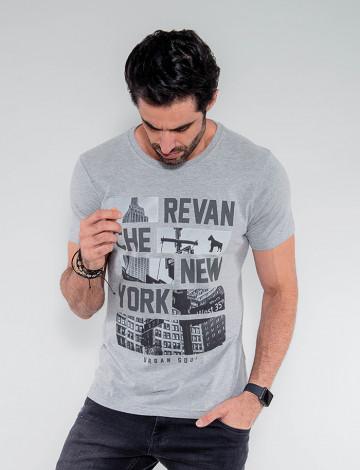 Camiseta Atacado Masculina Revanche Gabão Mescla Frente
