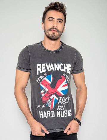 Camiseta Atacado Masculina Revanche Hard Music Preta Frente
