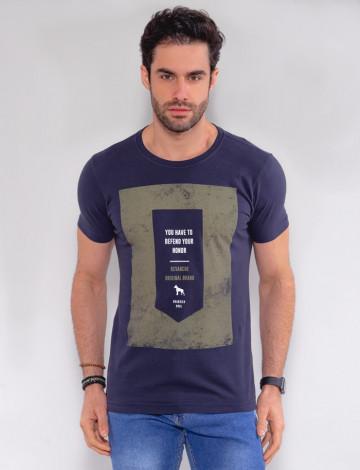 Camiseta Atacado Masculina Revanche Honor Azul Marinho Frente
