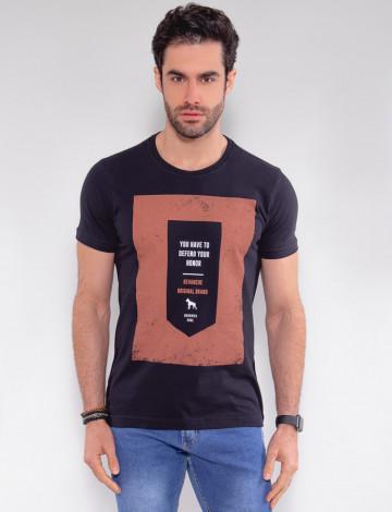 Camiseta Atacado Masculina Revanche Honor Preto Frente