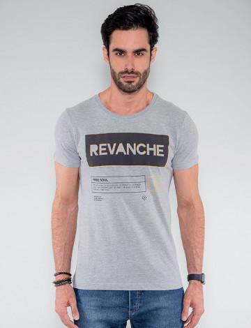 Camiseta Atacado Masculina Revanche Israel Mescla Frente