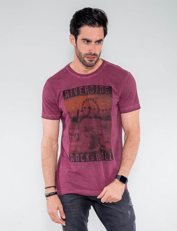 Camiseta Atacado Masculina Revanche Riverside Vinho Frente