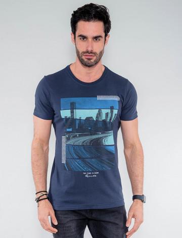 Camiseta Atacado Masculina Revanche Tailândia Azul Marinho Frente