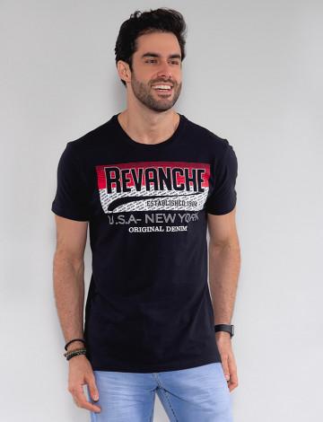 Camiseta Atacado Masculina Revanche Times Preto Frente