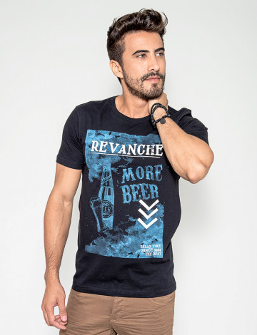 Camiseta Atacado Masculino Revanche More Beer Preta Frente