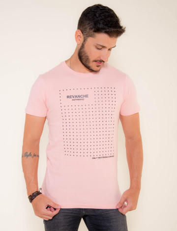 Camiseta Atacado Masculino Revanche Star Rosa Frente