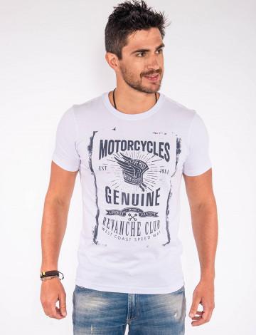 Camiseta Atacado Silk Masculina Revanche Motorcycles Branco Frente