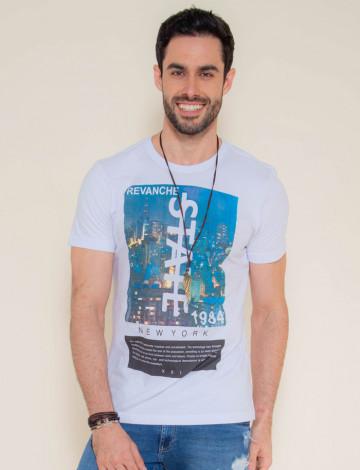 Camiseta Atacado Silk Masculina Revanche State Branca Frente