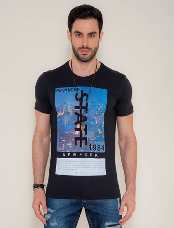 Camiseta Atacado Silk Masculina Revanche State Preto Frente