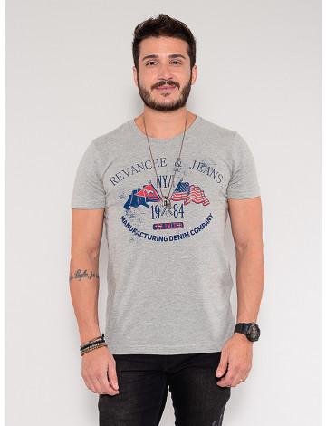 Camiseta Atacado Skull Masculina Revanche Dash Cinza Frente