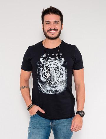 Camiseta Atacado Tigre Masculina Revanche Darcio Preto Frente