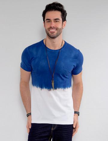 Camiseta Básica Atacado Tie Dye Masculina Revanche Cyril Azul Frente