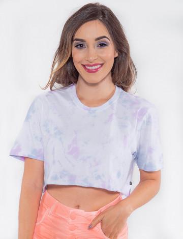 Camiseta Cropped Atacado Tie Dye Feminina Revanche Uganda Branco Frente