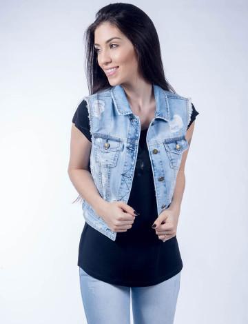 Colete Jeans Atacado Claro Feminino Revanche Luanda  3e4ae8edfd5c7