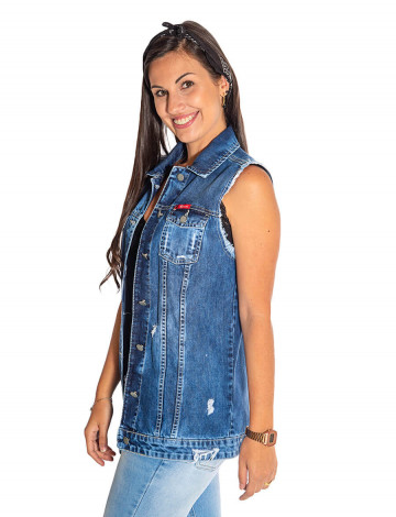 Colete Jeans Atacado Maxi Feminino Revanche Bari Lateral