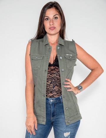 Colete Sarja Atacado Max Feminino Revanche Lilôngue Verde Frente