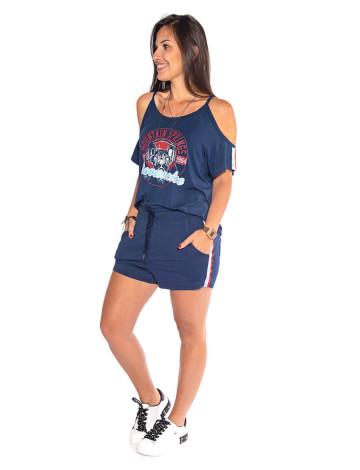 Conjunto Atacado Blusa + Shorts Feminino Revanche M Springs Azul Marinho Frente
