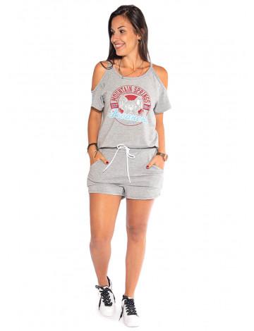 Conjunto Atacado Blusa + Shorts Feminino Revanche M Springs Mescla Frente