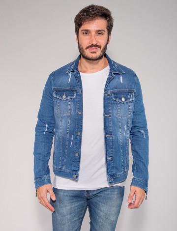 Jaqueta Jeans Atacado Zíper na Manga Masculina Revanche Algy Azul Frente