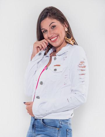 Jaqueta Color Atacado Feminina Revanche Suazilândia Branco Frente