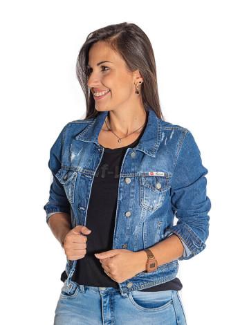 Jaqueta Jeans Atacado Bolso Embutido Feminina Revanche Marselha Frente