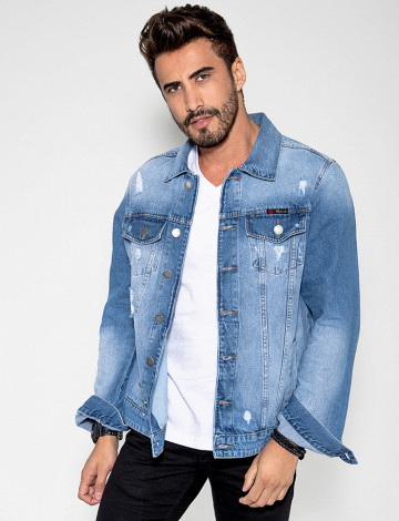 Jaqueta Jeans Atacado Masculina Revanche Estampa nas Costas Lets Roll Look Frente