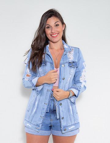 Jaqueta Jeans Atacado Max Feminina Revanche Cabo Azul Frente