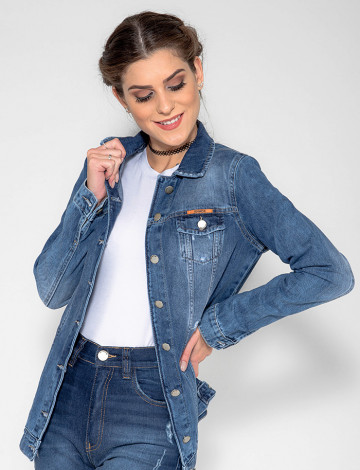 Jaqueta Jeans Atacado Max Feminina Revanche Podgo Azul Frente