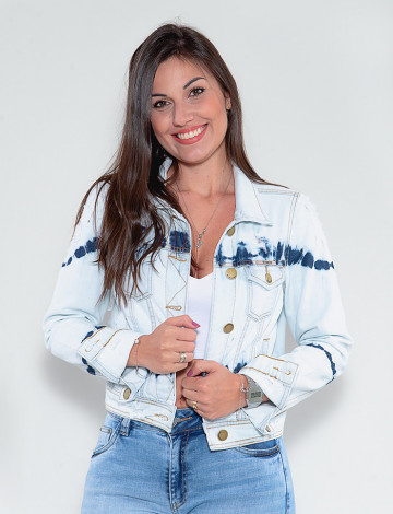 Jaqueta Jeans Atacado Tie Dye Feminina Revanche Vernell Azul Claro Frente