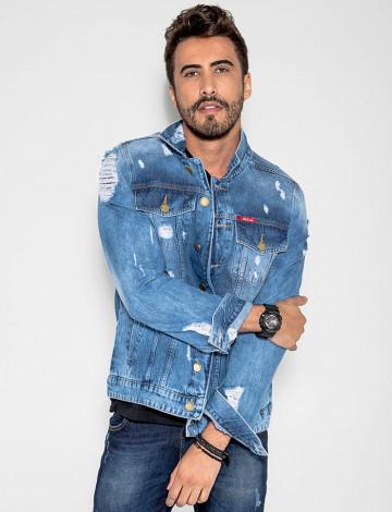 Jaqueta Jeans Destroyed Masculino Revanche Monaco Azul Frente