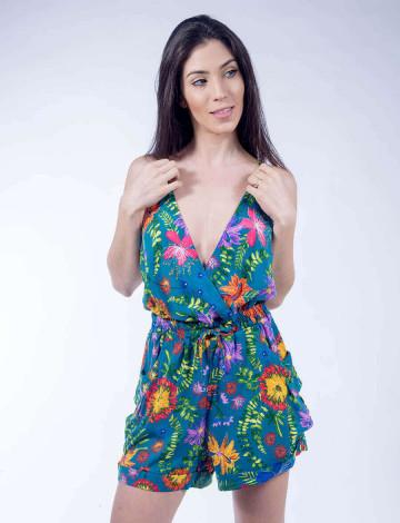 Macaquinho Curto Atacado Estampa Floral Feminino Revanche Havai Azul Petroleo Frente