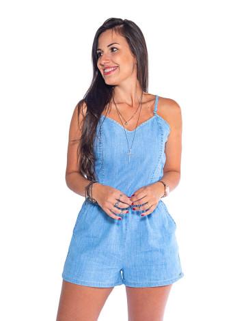 Macaquinho Jeans Atacado Alcinha Feminino Revanche São Francisco Frente