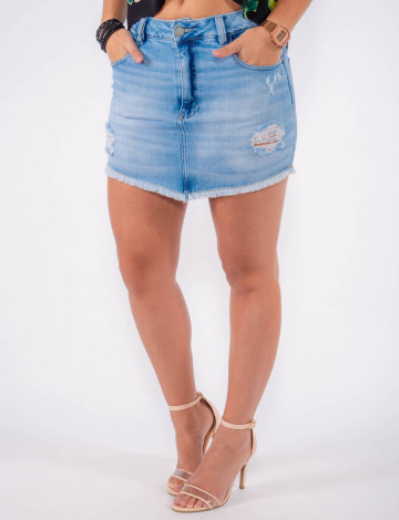 Saia Jeans Atacado Barra Desfiada Feminina Revanche Maldivas Azul