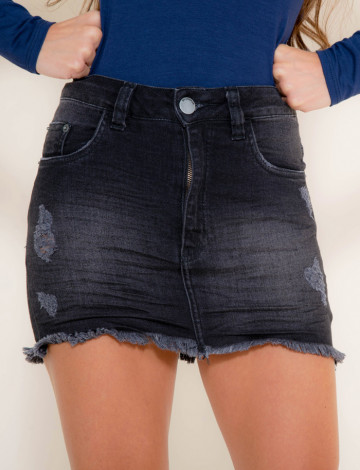 Saia Jeans Atacado Black Cint. Alta Feminina Revanche Fiji Preto Frente