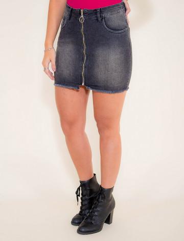 Saia Jeans Atacado Black Feminina Revanche Havana Preto Frente