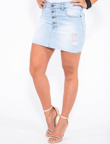 Saia Jeans Atacado Cintura Alta Botão Aparente Revanche Bamaco Azul Claro Frente