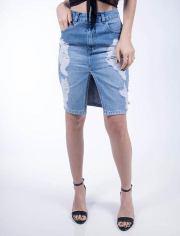 Saia Jeans Atacado Longuete Feminina Revanche Bruxelas Azul Frente