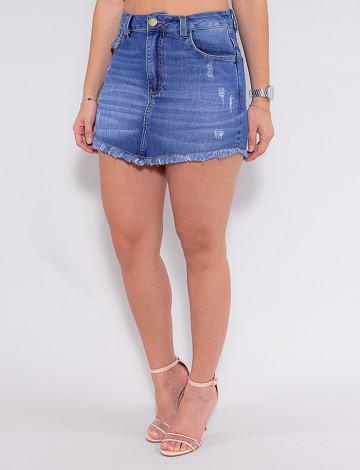 Saia Shorts Jeans Atacado Feminina Revanche Fifine Azul Frente
