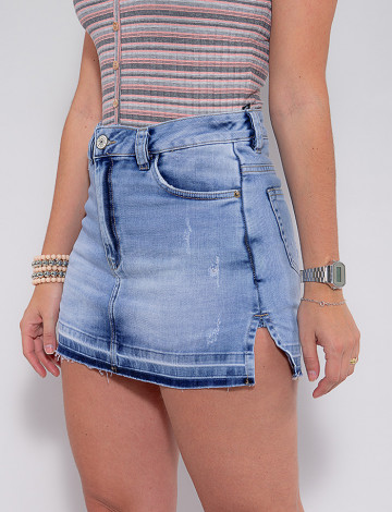 Saia Shorts Jeans Atacado Feminina Revanche Hariette Azul Frente Zoom