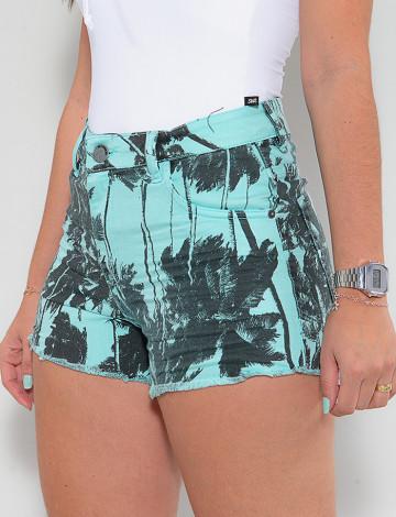 Shorts Color Atacado Coqueiro Feminino Revanche Destinie Verde Detalhe