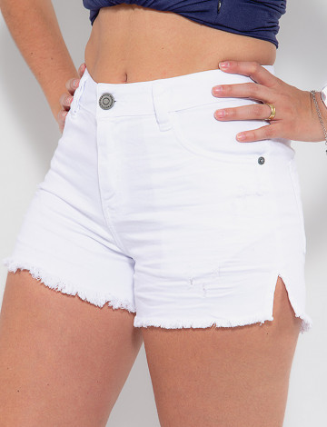 Shorts Color Atacado Feminino Revanche Germaine Branco Detalhe