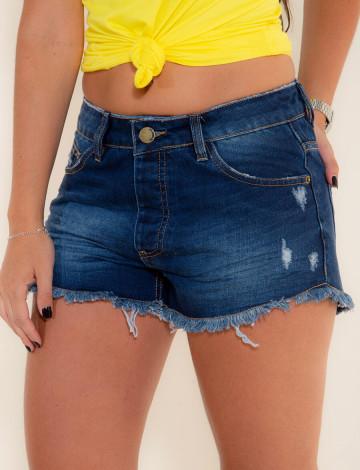 Shorts Jeans Atacado Barra Desfiada Feminino Revanche Acra Azul Frente
