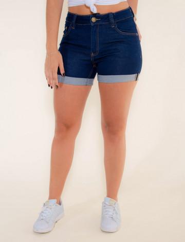 Shorts Jeans Atacado Barra Dobrada Feminino Revanche Cairo Azul Frente