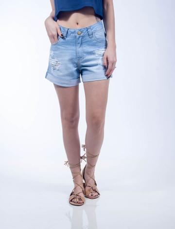 Shorts Jeans Atacado Barra Virada Feminino Revanche Tonga Frente